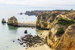 Background landscape view of the cliffs and islands in the ocean in Lagos Stock Photography
