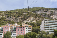 Background landscape view of the Rock of Gibraltar, ropeway, Alameda Park Stock Photo