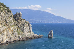 Background landscape view on the rock sail, Yalta Stock Image