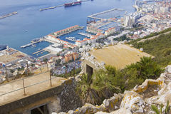 Background landscape view of the ruined city at the bottom  with the Rock of Gibraltar Royalty Free Stock Photos