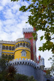 Background landscape view of the side facade of the Palace of Pena in Sintra Royalty Free Stock Images