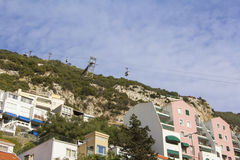 Background landscape view of the slope of the rock of Gibraltar, the cable car Royalty Free Stock Photography
