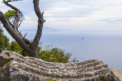 Background landscape view of the Straits of Gibraltar and the coast of Africa  from the Rock of Gibraltar Royalty Free Stock Image