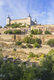 Background landscape view of the walls of Toledo and Alcazar Royalty Free Stock Images
