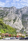 Background landscape view of the waterfront city of Limone sul Garda Stock Photo