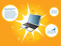 Background laptop. Creative layout orange background laptop