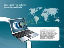 Background laptop. Creative layout blue background laptop