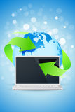 Background with Laptop and Earth Globe Royalty Free Stock Image