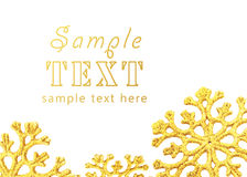 Background with large gold snowflakes Stock Photos