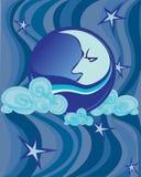 Background large pattern blue moon Stock Image