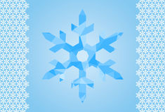 Background with a large polygonal snowflakes blue set for scrapb Royalty Free Stock Photo