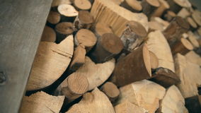 A background. A laying of chopped firewood. stock footage