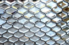 Background of Leaded Glass. Leaded glass is set in honeycomb pattern.  Glass door window pane Stock Photos