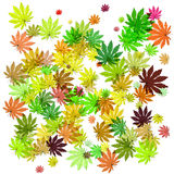 Background with leaves of different colors. Raster Royalty Free Stock Image