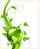 Background with leaves and globe Stock Image