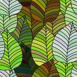 Background with leaves. Vector pattern. Background of leaves. Vector pattern. Vector texture with hand drawn leaves and plants Stock Photos