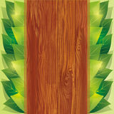 Background with leaves and wooden board Royalty Free Stock Photography
