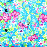 Background of left pocket on blue shirt flower pattern Stock Photo