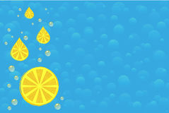 Background with lemon and drops of juice Stock Image