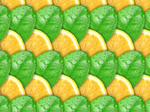 Background with lemon slices and green leaf Royalty Free Stock Photos