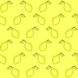 Background, lemons. Seamless background, pattern from symbolical yellow lemons with green leaf stock illustration