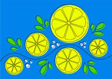 Background with lemons. Abstract pattern design with lemons on blue background. Can be used as background, on packaging paper or textile. Lline art with offset vector illustration
