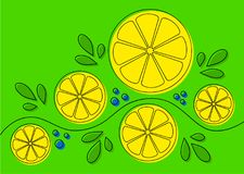 Background with lemons. Abstract pattern design with lemons on green background. Can be used as background, on packaging paper or textile. Lline art with offset vector illustration