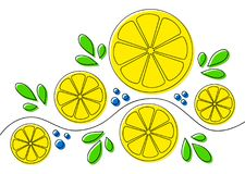 Background with lemons. Abstract pattern design with lemons on white background. Can be used as background, on packaging paper or textile. Lline art with offset vector illustration