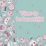 Background for lettering. cosmetics. For children s accessories. lipstick, cream, mascara, comb. Games with dolls for girls. White stock illustration