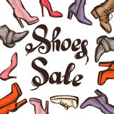 Background with lettering sale shoes. Hand drawn illustration female footwear, boots and stiletto heels Stock Images