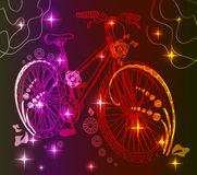 Background with light bicycle. Over dark, illustration Royalty Free Stock Photo