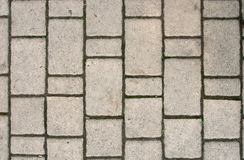 Background of light gray rectangular sidewalk stone. With traces of moss stock photo