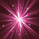Background with light rays and stars. Pink background with light rays and stars Royalty Free Stock Photo