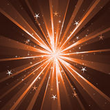 Background with light rays and stars. Brown background with light rays and stars Royalty Free Stock Photo