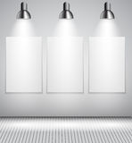 Background with Lighting Lamp and Frame. Empty Stock Photos