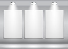 Background with Lighting Lamp and Frame. Empty Stock Photo