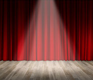 Background. lighting on stage. red curtain and wooden floor interior background. Royalty Free Stock Photo