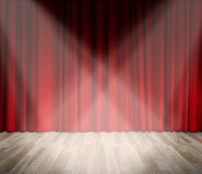 Background. lighting on stage. red curtain and wooden floor interior background. Interior template for product display, interior theater, interior stage royalty free stock photography