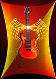 Background with lightning and guitar Royalty Free Stock Photography