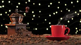 Background with lights. Coffee grinder filled with roasted coffee beans stock video footage