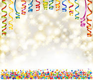 Background with lights, snowflakes, serpentine and confetti Stock Images