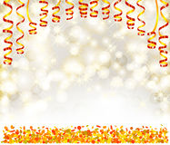 Background with lights, snowflakes, serpentine and confetti Royalty Free Stock Images