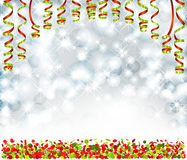 Background with lights, snowflakes, serpentine and confetti Royalty Free Stock Photos