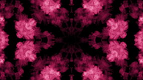 Background like Rorschach inkblot. Fluorescent pink ink or smoke, isolated on black in slow motion. Pink colour stock video footage