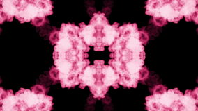 Background like Rorschach inkblot. Fluorescent pink ink or smoke, isolated on black in slow motion. Pink gouache stock video footage