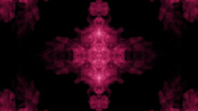 Background like Rorschach inkblot. Fluorescent pink ink or smoke, isolated on black in slow motion. Pink gouache stock video