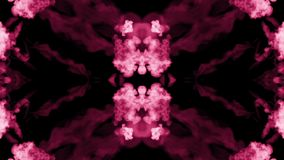 Background like Rorschach inkblot test22. Fluorescent pink ink or smoke, isolated on black in slow motion. Color drop in stock video footage