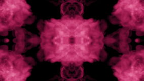 Background like Rorschach inkblot test3. Fluorescent pink ink or smoke, isolated on black in slow motion. Pink paint stock footage