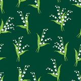 Background of the lilies of valley. Vector pattern of the forest lilies Royalty Free Stock Photos