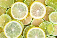 Background of lime and lemon slices Royalty Free Stock Image